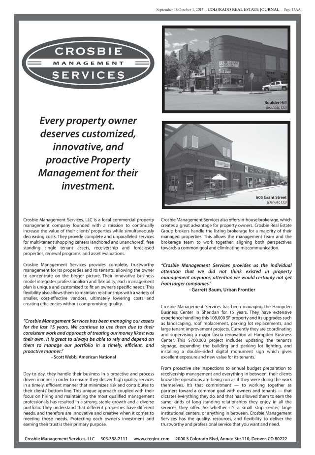 Crosbie Management Services Featured in Colorado Real Estate Journal